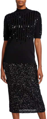 Lafayette 148 New York Mock-Neck Elbow-Sleeve Cashmere Sweater with Sequins