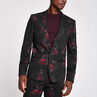 River Island Black floral skinny suit jacket