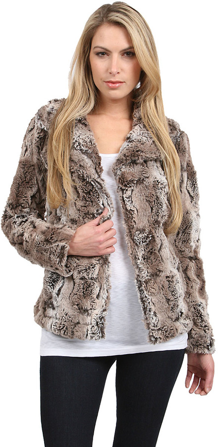 True Grit Dylan Textured Fur Button Jacket in Earth