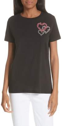 Sandro Embroidered Hearts Tee