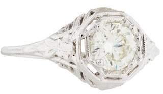 18K Diamond Filigree Engagement Ring