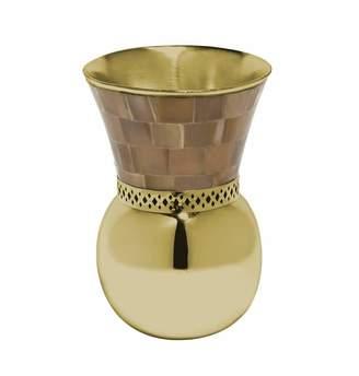 Mela Artisans Monarch Bulb Vase in Light Horn & Brass