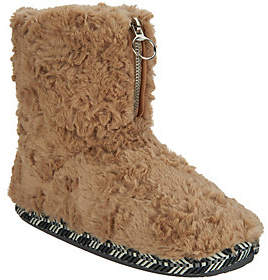 Cuddl Duds Faux Fur Zip-Up Boot Slippers