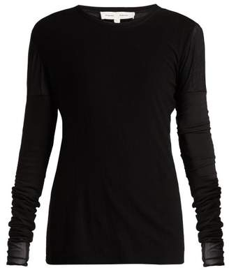 Proenza Schouler Pswl - Long Sleeved Cotton Gauze Top - Womens - Black Red