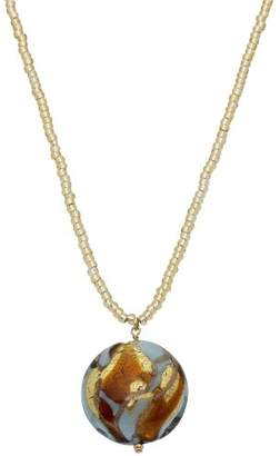 Valentina Genuine Murano Glass Turquoise and Gold Disc Drop Necklace of 46cm + 5cm Extender