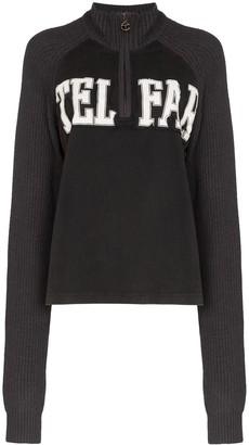 Telfar logo half zip knit sweatshirt