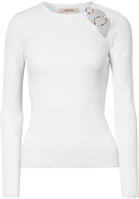 Cushnie et Ochs Sienna Cutout Embellished Ribbed-knit Top - White