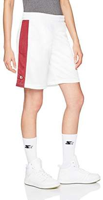 """Starter Women's 10"""" Mesh Short with Side Panel, Amazon Exclusive, White with Team Maroon"""