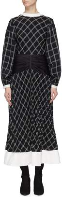 Self-Portrait Waist panel split sleeve windowpane check midi dress