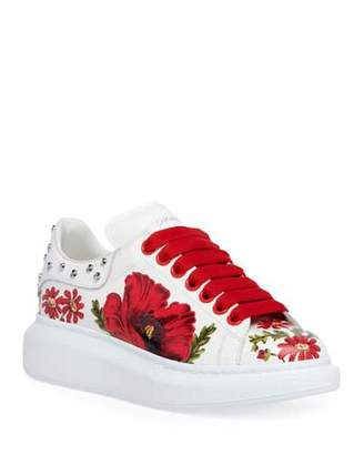 Alexander McQueen Floral-Printed Leather Sneakers