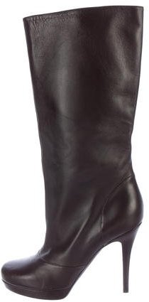 Saint Laurent Yves Saint Laurent Leather Mid-Calf Boots