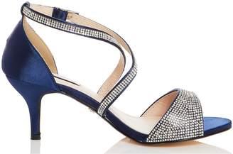 2dccc4f1bbae Dorothy Perkins Womens  Quiz Wide Fit Blue Satin Low Heels Sandals