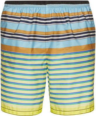 Prada Multicolored Nylon Striped Swim Trunks