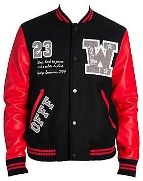 Off-White Men's Luxury Leather & Wool Varsity Jacket