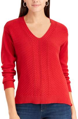 Chaps Women's Chevron V-Neck Sweater