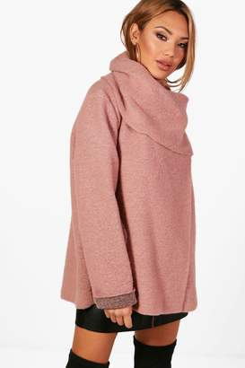 boohoo Funnel Neck Wool Coat