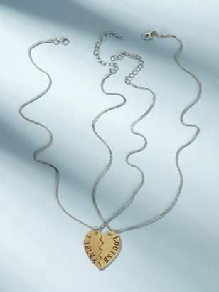 eb1896d3de Shein Letter Engraved Half Heart Pendant Necklace 2pcs