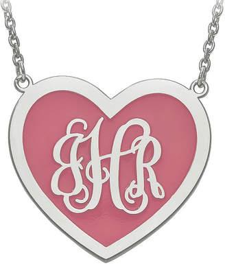 FINE JEWELRY Personalized Sterling Silver 29mm Enamel Heart Monogram Necklace