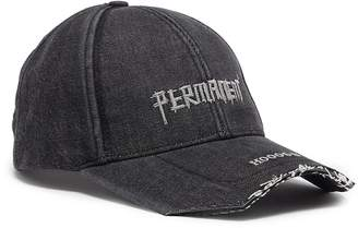 SMFK 'Permanent' slogan embroidered denim baseball cap