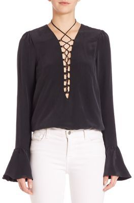 Stone Cold Fox Powell Silk Lace-Up Blouse $275 thestylecure.com