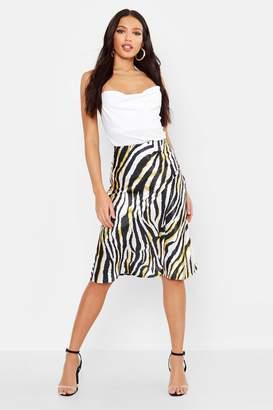boohoo Bias Satin Zebra Print Midi Skirt