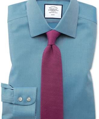 Charles Tyrwhitt Classic fit non-iron teal arrow weave shirt