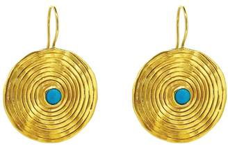 Yvonne Henderson Jewellery - Statement Coil Drop Earrings With Turquoise