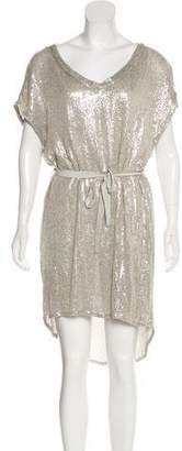 Diane von Furstenberg Rina Silk Sequin Embellished Knee-Length Dress