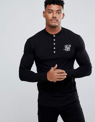 SikSilk Muscle Long Sleeve Top In Black