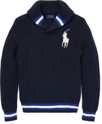 Ralph Lauren Cotton Shawl-Collar Sweater