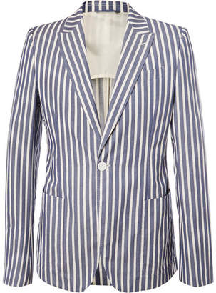 Connolly Blue Slim-Fit Striped Cotton Blazer