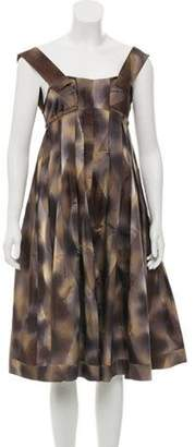 Marni Raw-Edge Midi Dress Brown Raw-Edge Midi Dress