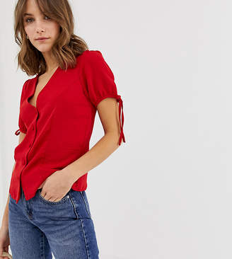 New Look blouse with tie sleeves in red
