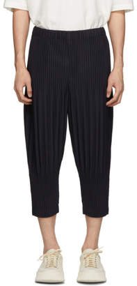 Issey Miyake Homme Plisse Navy Cropped Wide Pleat Trousers