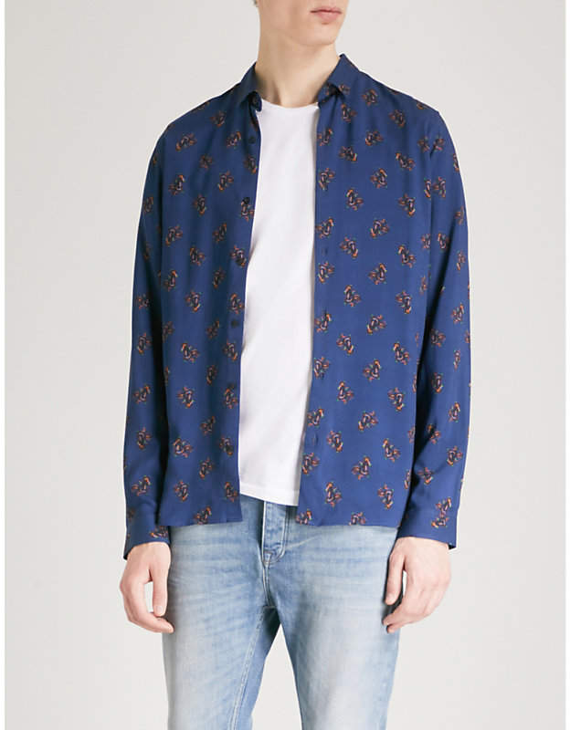 Abstract-pattern slim-fit cotton shirt