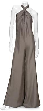 Stella Mccartney Silk Twill Halter Jumpsuit: Grey