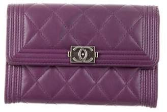 Chanel Quilted Small Boy Wallet Violet Quilted Small Boy Wallet