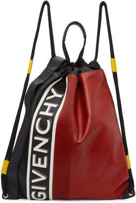 Givenchy Black and Red MC3 Drawstring Backpack