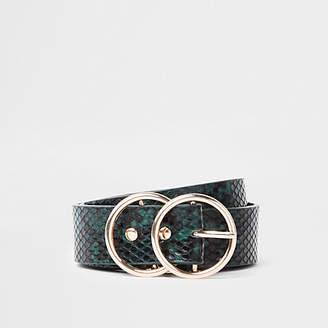 River Island Green snake embossed double ring belt