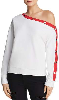 Honey Punch One-Shoulder Snap Sleeve Sweatshirt
