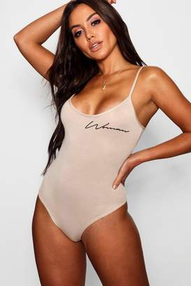 boohoo Woman Slogan Bodysuit
