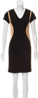 Diane von Furstenberg Dayton Leather-Trimmed Mini Dress Black Dayton Leather-Trimmed Mini Dress