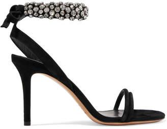 Isabel Marant Alrin Crystal-embellished Suede Sandals - Black