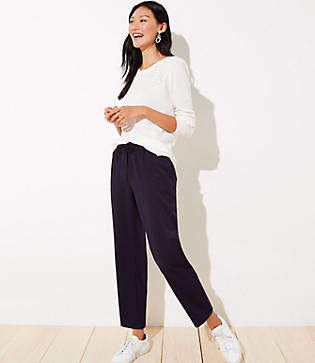 LOFT Petite Striped Tapered Jogger Pants