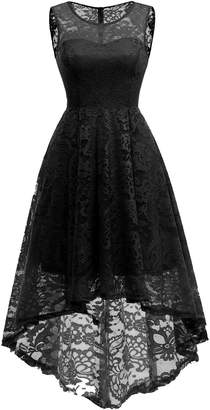 MUADRESS CMUA6006 Vintage Floral Lace Sleeveless Hi-Lo Cocktail Formal Swing Dress 2XL