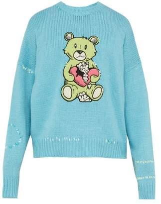 Amiri Teddy Applique Cotton Blend Knitted Sweater - Mens - Light Blue