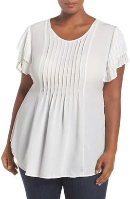 Plus Size Women's Melissa Mccarthy Seven7 Tiered Sleeve Tie Waist Pintuck Blouse $98 thestylecure.com