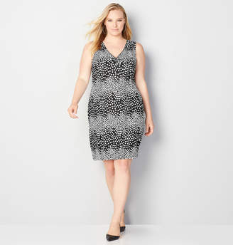 Avenue Zipper Front Dot Dress