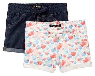 Vigoss Roll Cuff Shorts - Pack of 2 (Little Girls)