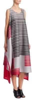 Pleats Please Issey Miyake Striped Trapeze Dress